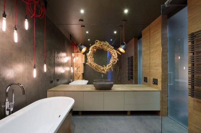 Темная цветовая гамма, сантехника простых форм, плоскопанельные шкафы для ванной, оригинальная система освещения задает общий стиль лофт