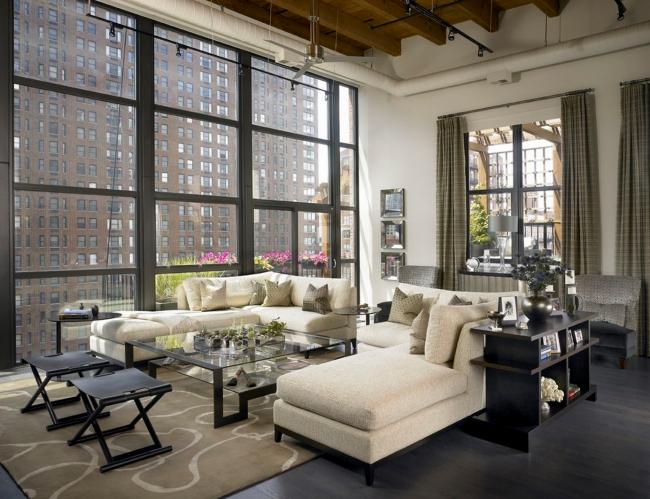 При оформлении помещения в стиле лофт чаще всего используют сдержанные цвета обивки мебели, но именно они добавляют интерьеру изюминки и элегантности
