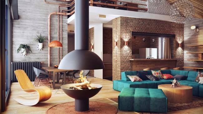 Угловой диван в гостиной в стиле лофт - идеальный вариант как для городских квартир, так и для загородных домов
