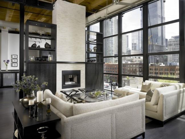 Стенка также может зонировать пространство в совмещенных комнатах