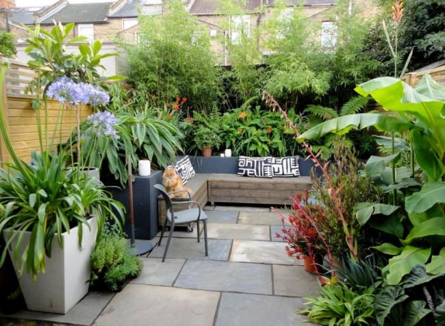 Комфортная зона отдыха в саду: небольшой мягкий уголок с обилием разнообразных растений вокруг