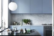 Фото 30 Бело-голубая кухня: как гармонизировать интерьер и 105 беспроигрышных вариантов оформления