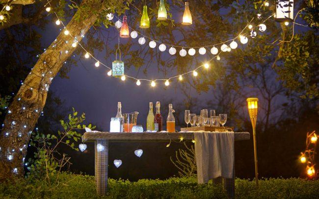 Дизайн садового участка: гирлянды придадут праздничного настроения вашему саду