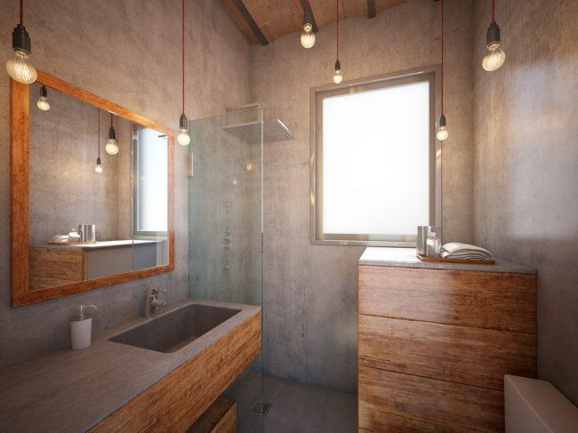 Стильный интерьер маленькой ванной в стиле лофт
