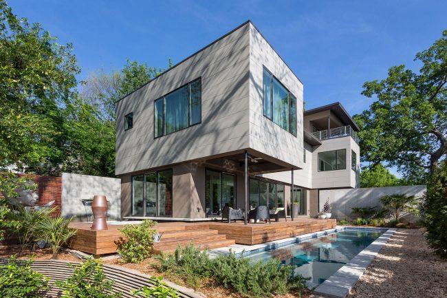 Фиброцементные панели - современный материал, используемый для облицовки фасадов