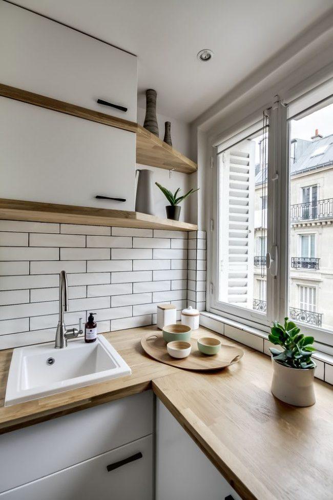 Скандинавский стиль хорошо смотрится на небольших кухнях