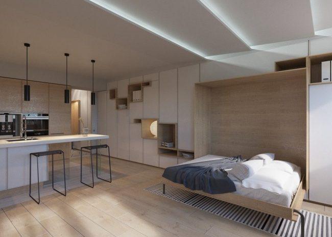 Корпусная стенка может превратится также и в спальное место