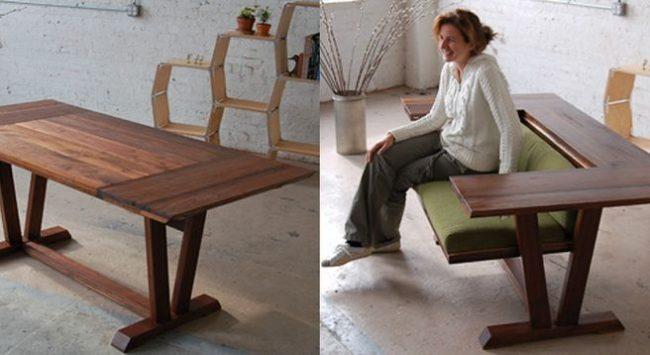 Стол, трансформирующийся в мягкий небольшой диван
