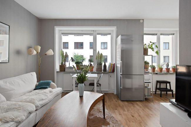 Современный интерьер однокомнатной квартиры в серых цветах