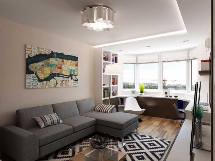 Дизайн 1 комнатной квартиры с эркером