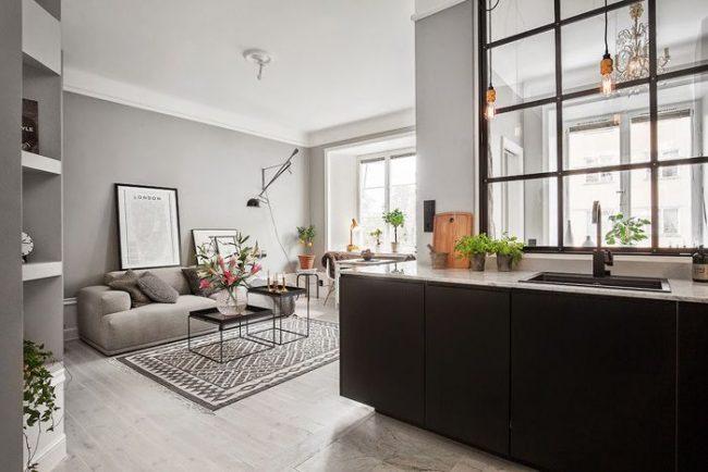 Стильная кухня-студия в стиле модерн