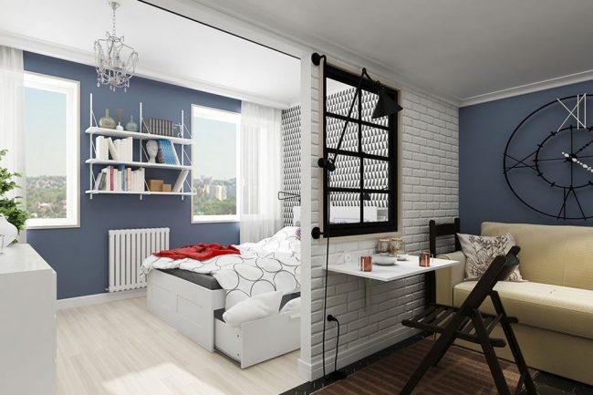 Зонирование пространства в малогабаритной квартире с помощью небольшой гипсокартонной стенки