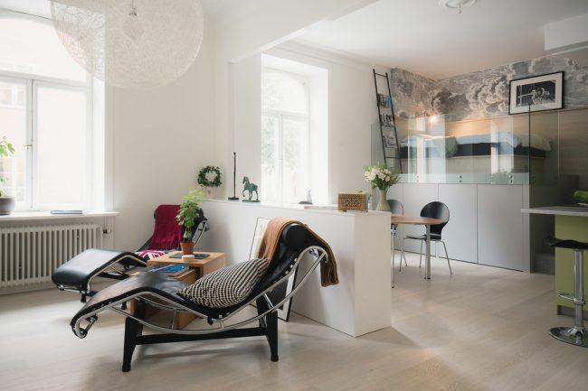 Удобное зонирование в однокомнатной квартире