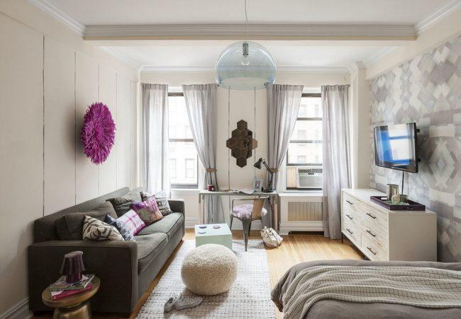 Гостиная объединенная со спальней тоже может хорошо смотреться. если интерьер правильно оформить