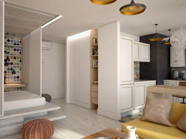 Спальная зона на деревянном подиуме со ступеньками и с раздвижными пластиковыми перегородками
