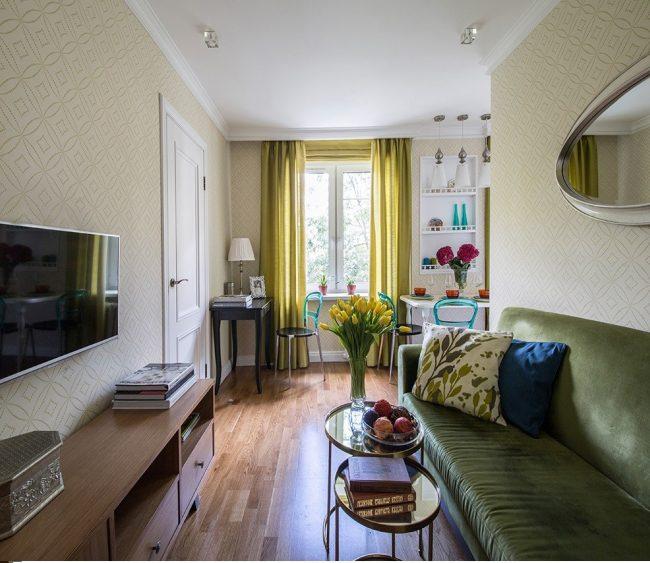 Пастельные тона в оформлении однокомнатной квартиры