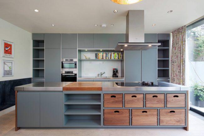 Серый цвет в дизайне мебели кухонных шкафов