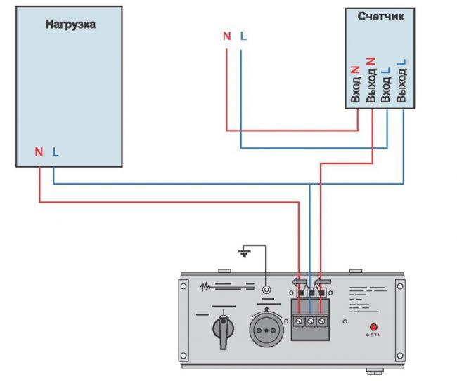 Схема подключения однофазного стабилизатора к электросети