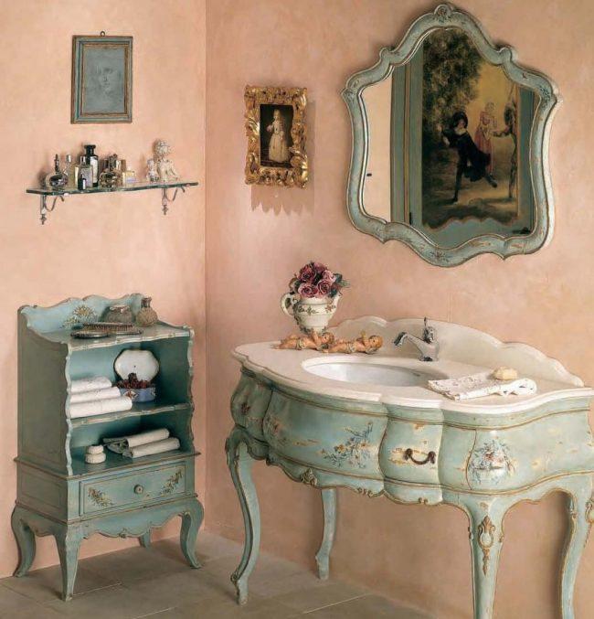 Ванная комната в стиле прованс смотрится восхитительно