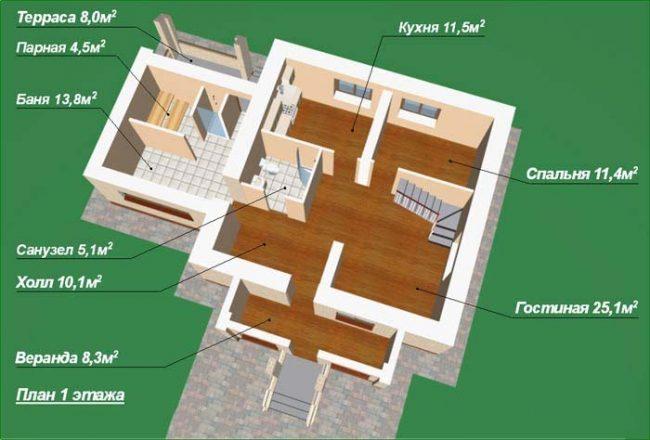 Планировка первого уровня банного домика