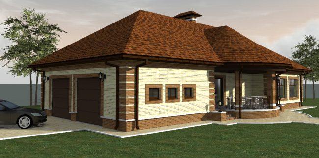 Визуализация проекта дома с гаражом и баней по разные стороны