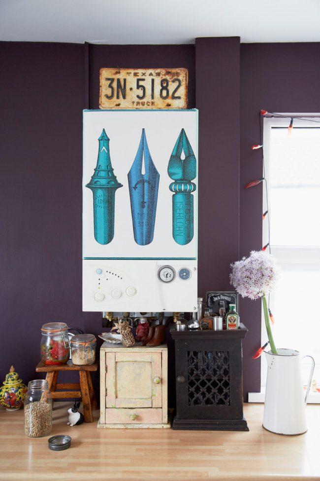 Креативное решение задекорировать светлый водонагреватель