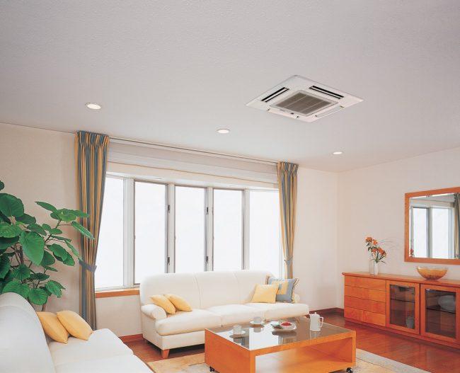 Касетный кондиционер, установленный на потолке