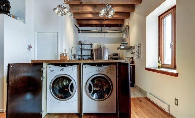 Стиральную машину можно установить в кухонном острове, сделанном своими руками