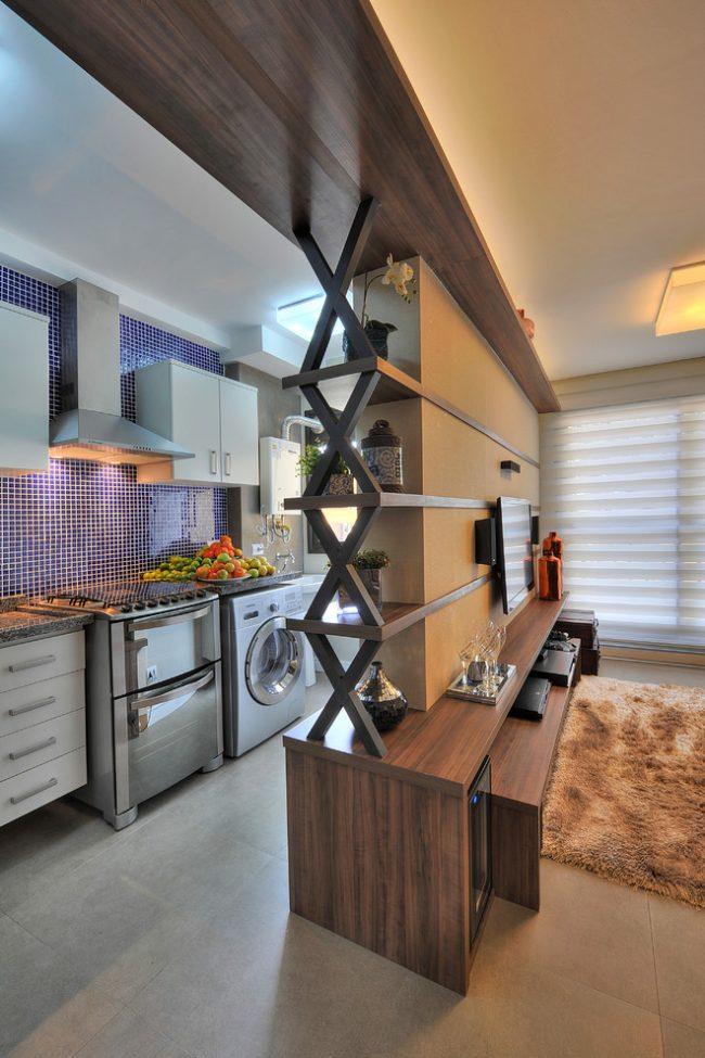 Современная кухня со встроенной стиральной машинкой