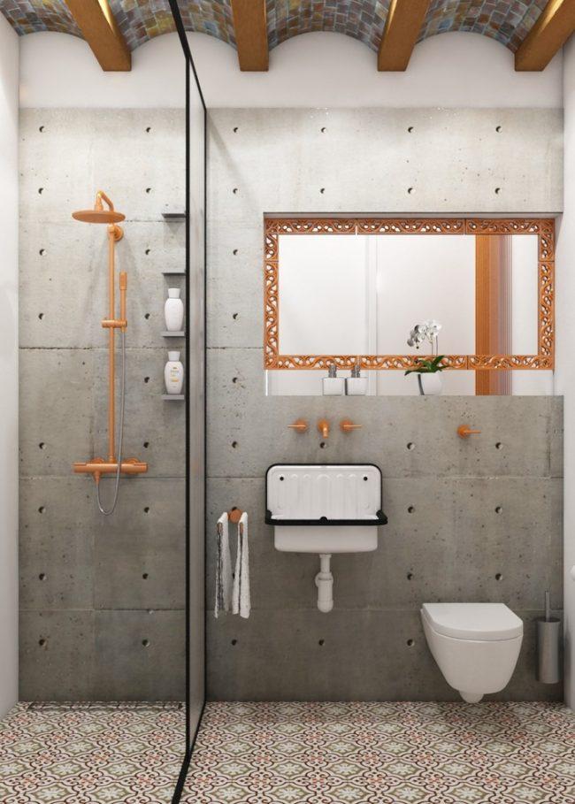 Подвесная сантехника и отсутствие ванной сделает комнату намного просторнее