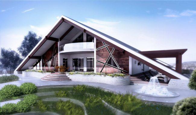 Жилой дом - шалаш с двухскатной крышей