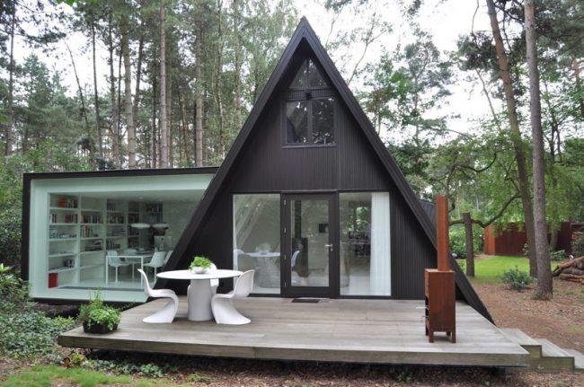 Необычная идея проекта дачного дома с небольшой пристройкой