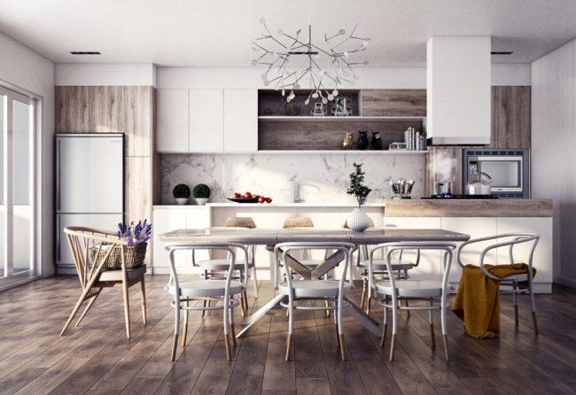 Кухня, отделяющаяся от кухни большим обеденным столом