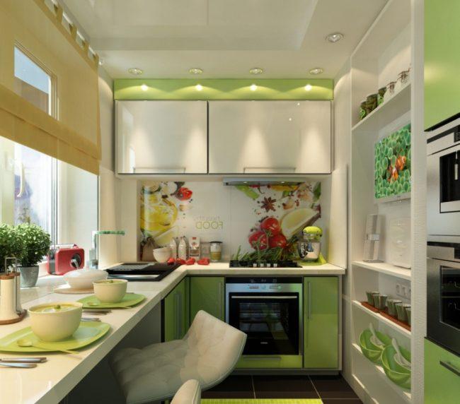 В интерьере небольшой кухни нужно как можно больше света и лучше что бы это был естественный свет