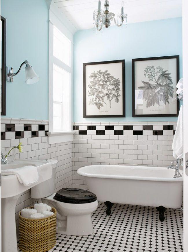 Выделенный контрастный пояс в традиционной ванной комнате
