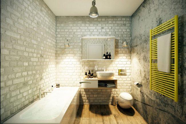 Открытая навесная полка в ванной комнате в стиле лофт