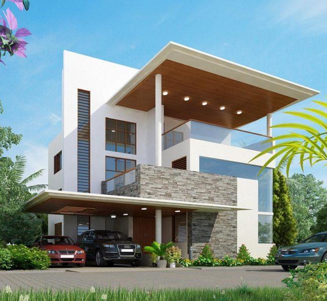 Оригинальный дизайн проект дома из пеноблоков и застекленных участков