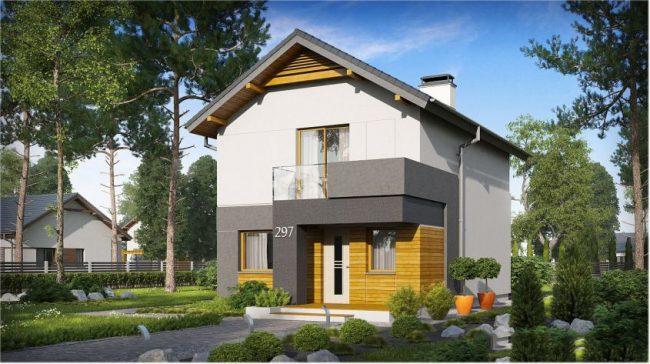 Для небольших участков подойдет миниатюрный двухуровневый дом с мансардой