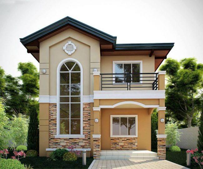 Компактный двухэтажный дом с открытой террассой и мансардой