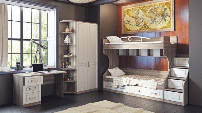 """Встроенная двухярусная кровать и оригинальный окрас мебели от фирмы """"ТриЯ"""""""