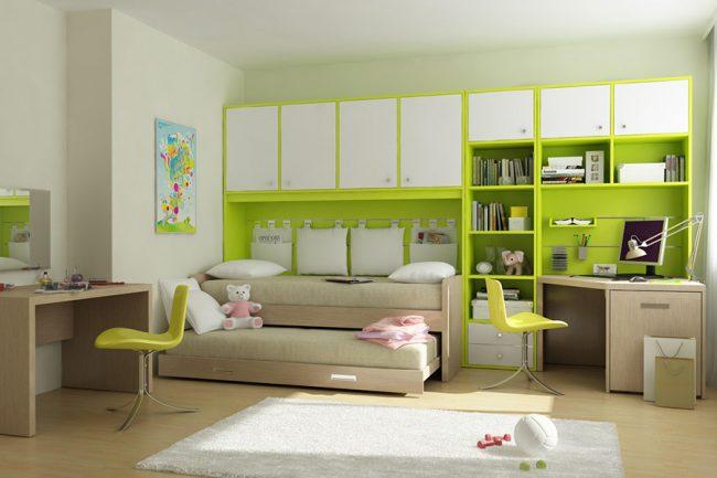 Отличная идея для небольшой квадратной детской комнаты