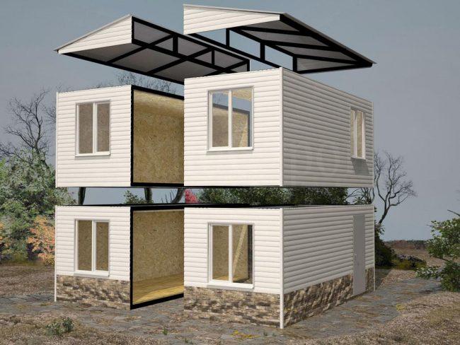 Двухэтажный традиционный дом с двускатной крышей. Собирается из четырех блок-контейнеров стандартных размеров (длина, высота, ширина, м): 3 х 3 х2,8 ; 6 х 2,5 x 2,6; 6 x 3 x 2,8; 8 x 2,8 x 2,8; 9 х 3 х 2,8; 12 х 3 x 2,8
