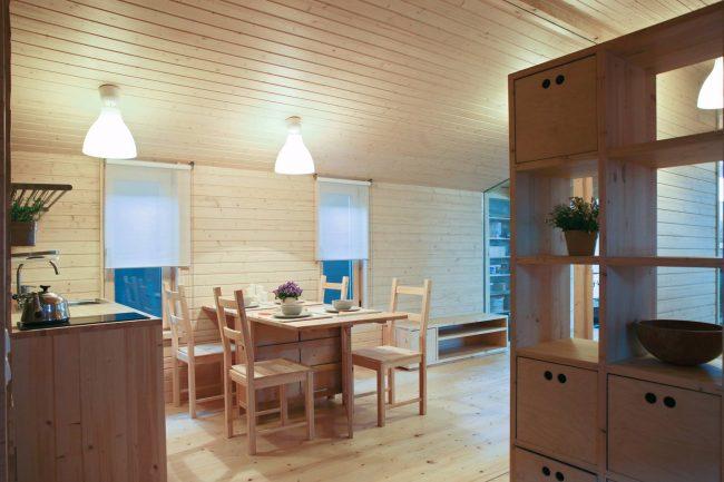 Интерьер деревянного модульно-каркасного дома
