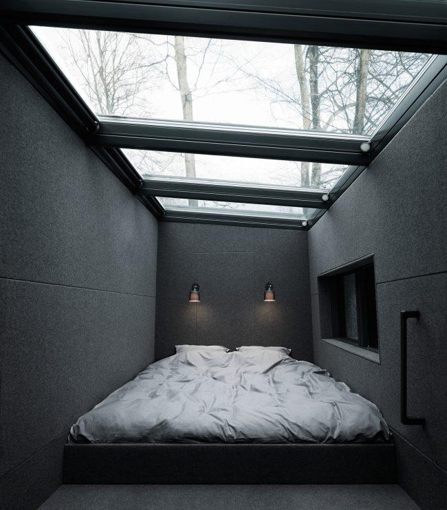 Интерьер спальни дачного домика от Vipp Shelter