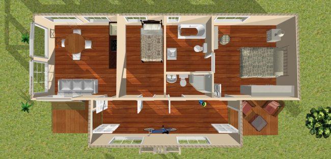 """Модульные дома для круглогодичного проживания: довольно просторный модульный дом """"ранчо"""" площадью 66 кв. м. Цена такого жилья составит порядка 2,9-3 млн руб., что не сравнится по стоимости с капитальным строительством, зато сравнится по комфорту проживания"""