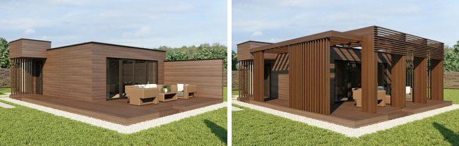 Варианты экстерьера и функционального набора для одного и того же модульного дома: терраса с боковым заграждением, современная пергола. Возможны и любые другие индивидуальные варианты