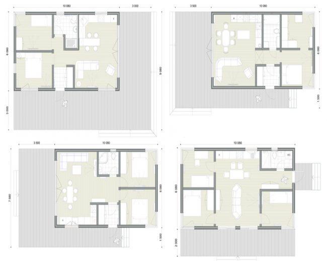 Варианты планировки модульного дома из стандартных предложений от изготовителя
