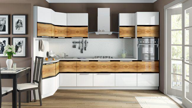 Модульные кухни эконом класса поэлементно. Варианты дизайна у модульных кухонь совсем не отличаются скудностью. Напротив, здесь находят выражение самые креативные идеи отделки и рисунка фасадов
