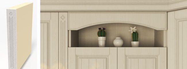 Размеры готового гарнитура всегда можно подогнать точно под габариты помещения с помощью доборов - функциональных или чисто декоративных