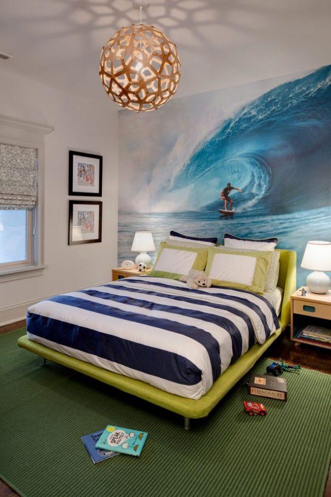 Реалистичные фотообои для комнаты мальчика-подростка с изображением катания на серфинге